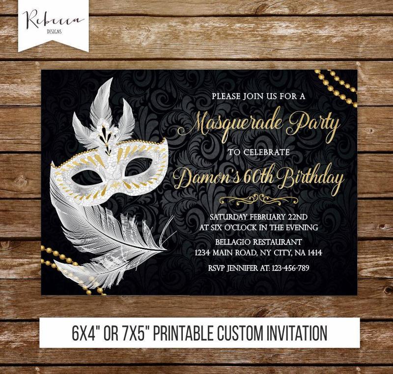 black and white masquerade invitation