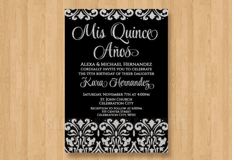 black and white quinceanera invitation