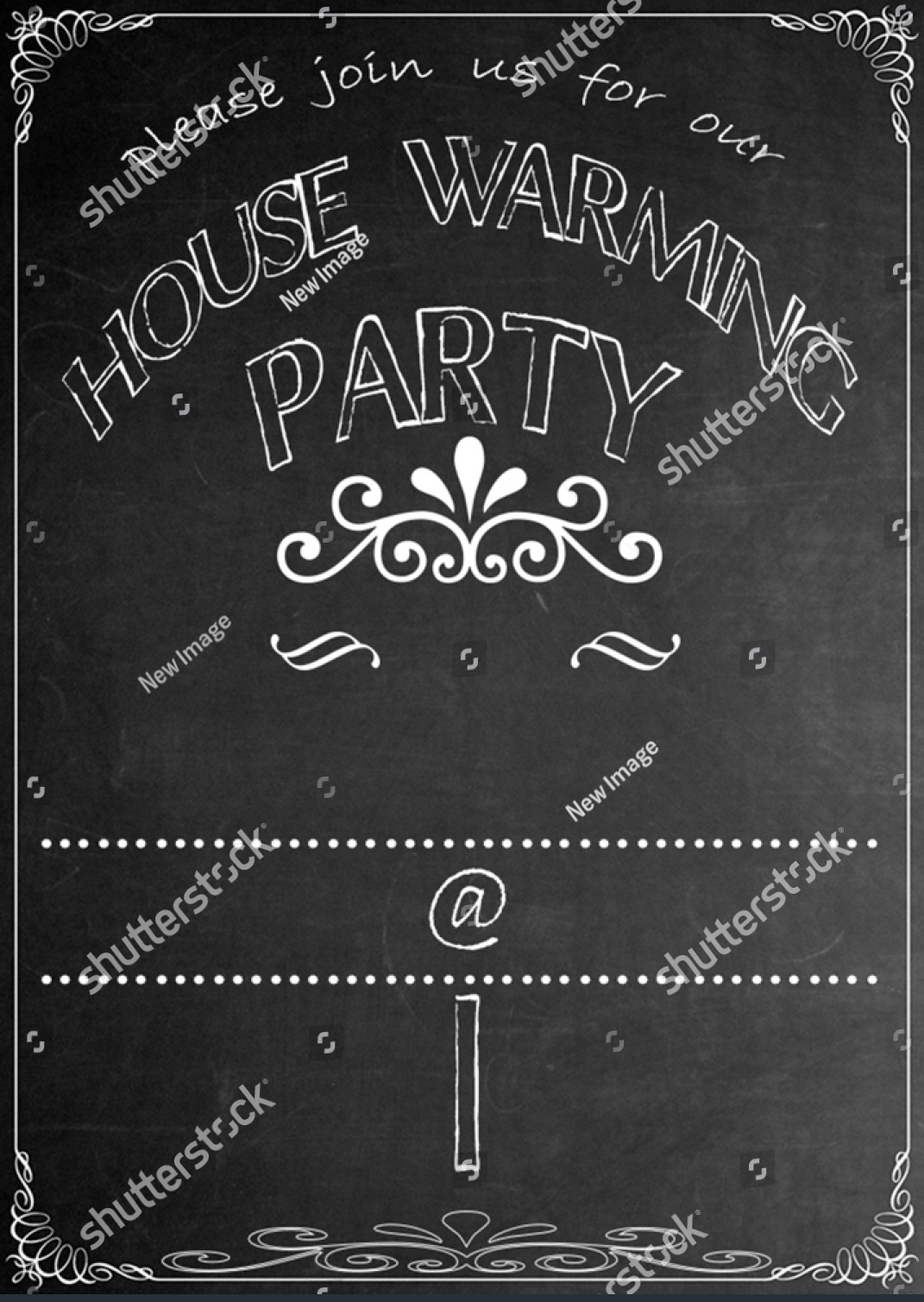 blackboard house warming party invitation