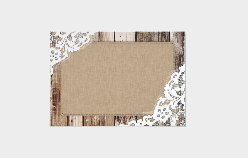 blank burlap wedding invitation