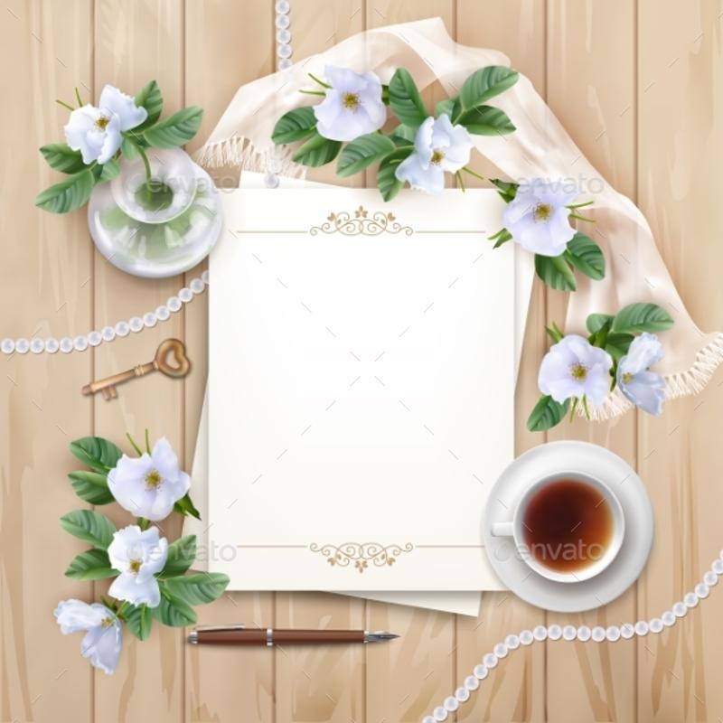 blank decorative wedding invitation