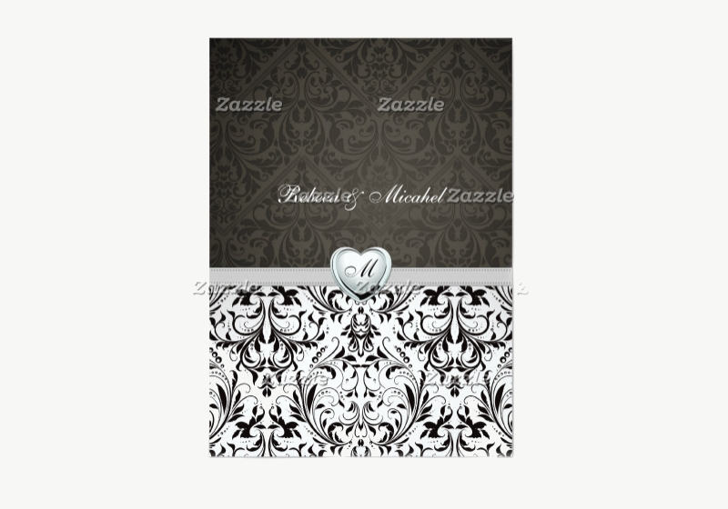 blank monogram wedding invitation