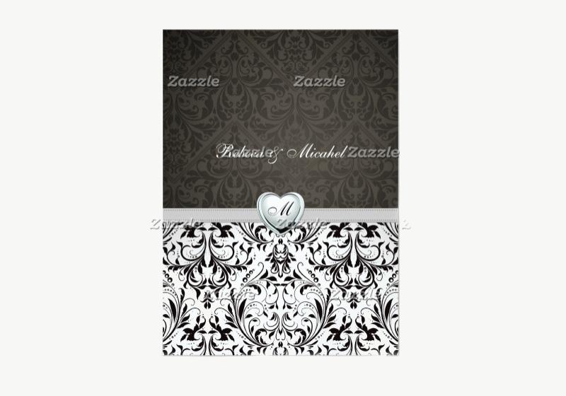 blank monogram wedding invitation