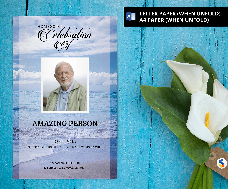 blue beach funeral invitation