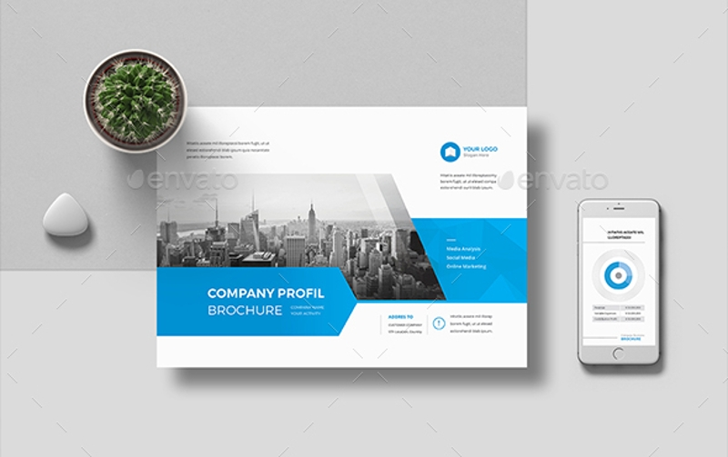 blue corporate brochure landscape