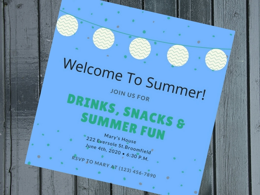 blue summer party invitation
