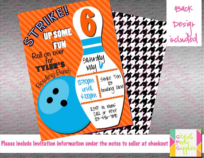 blue and orange bowling invitation