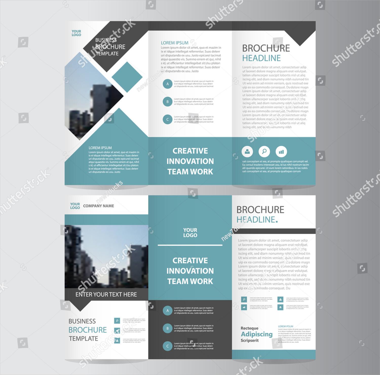 blue square geometric tri fold brochure