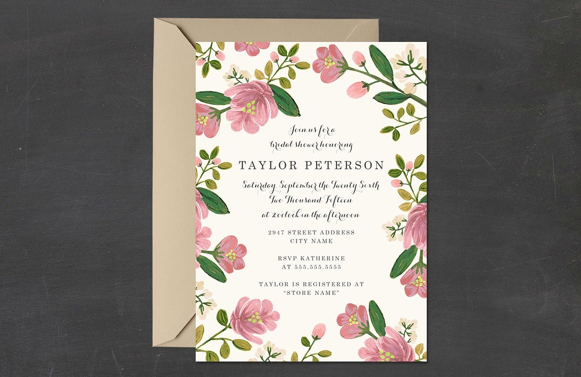 blush bouquet bridal shower party invitation
