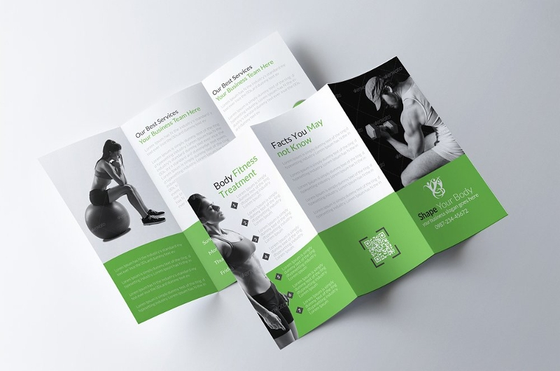 body fitness trifold brochure design
