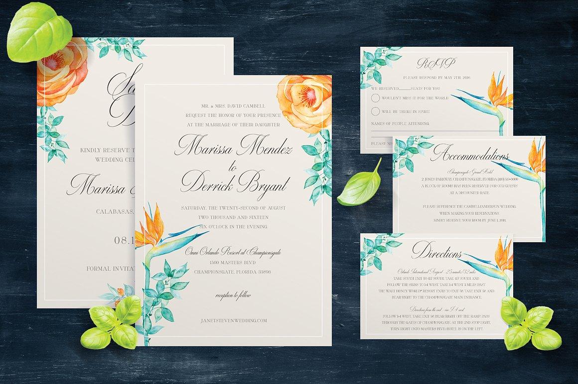 botanical wedding wedding invitation