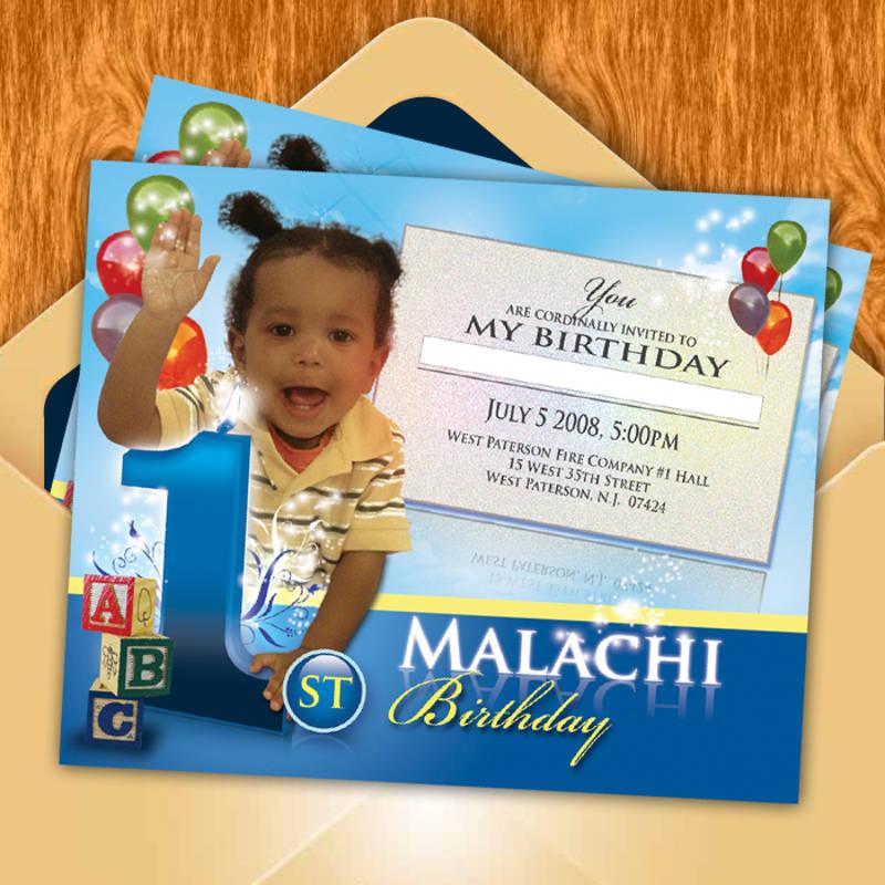 boy 1st birthday invitation