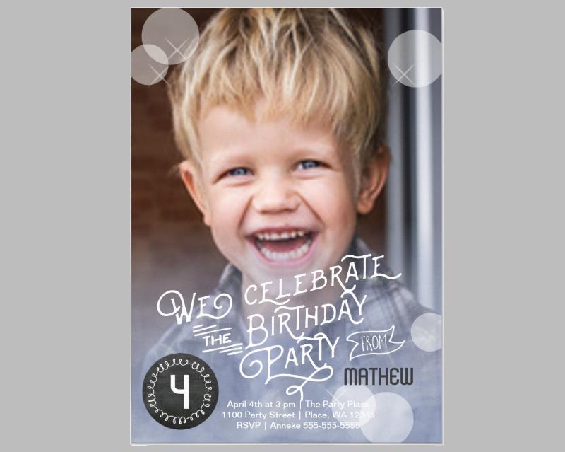 boy birthday party watercolor invitation