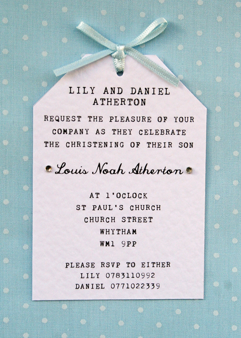 boy christening naming ceremony invitation