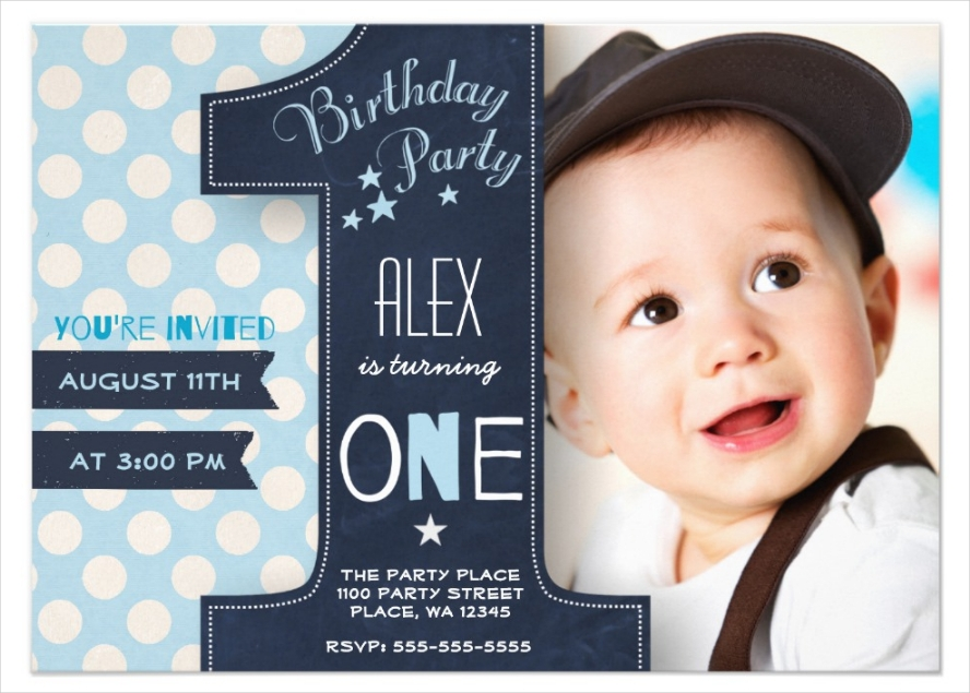 boy first birthday party invitation