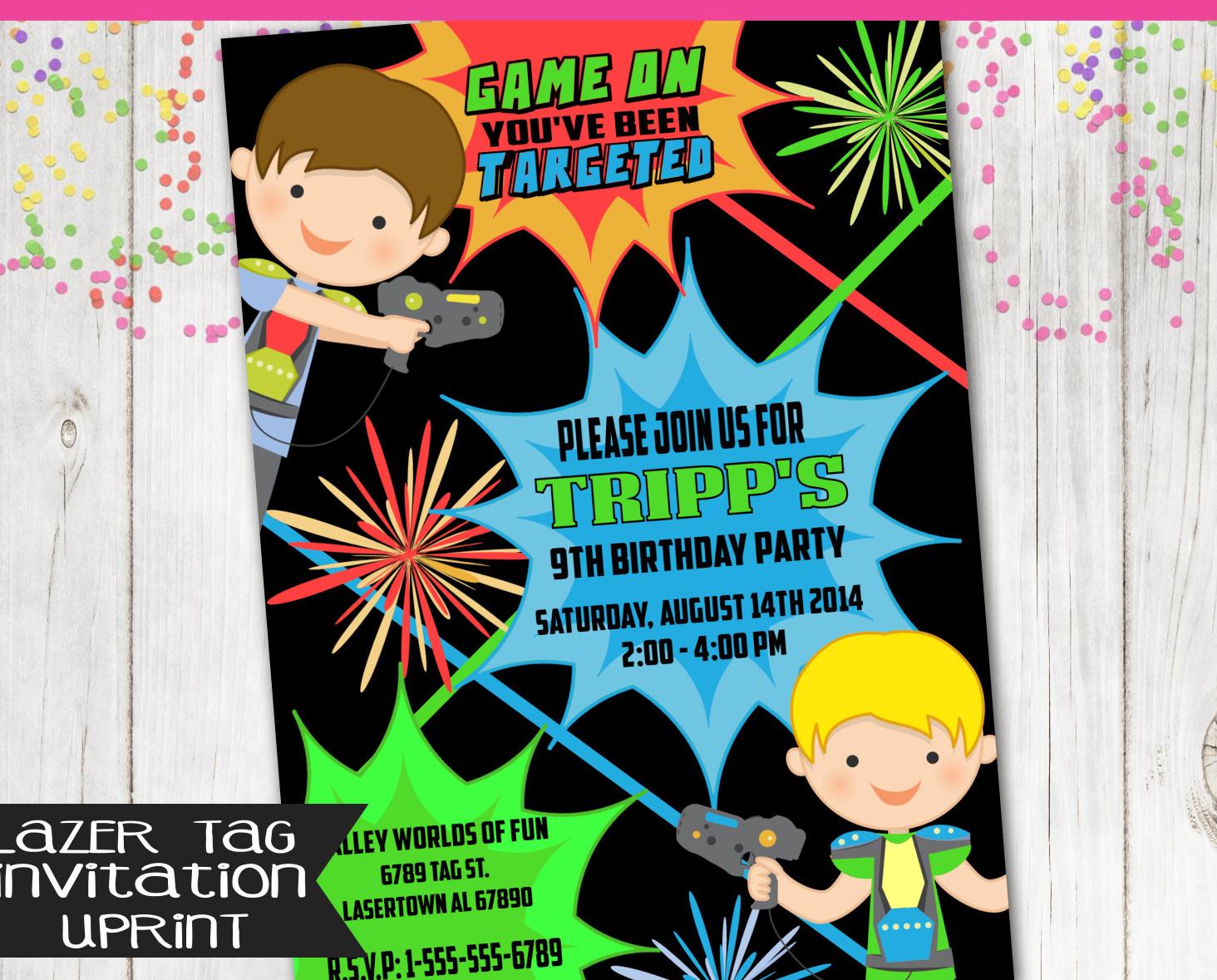 boys birthday party invitation