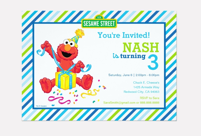 boys birthday striped invitation