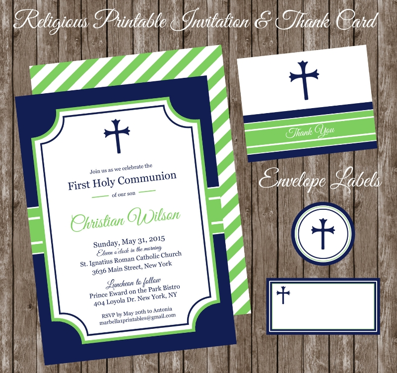 boys first communion invitation