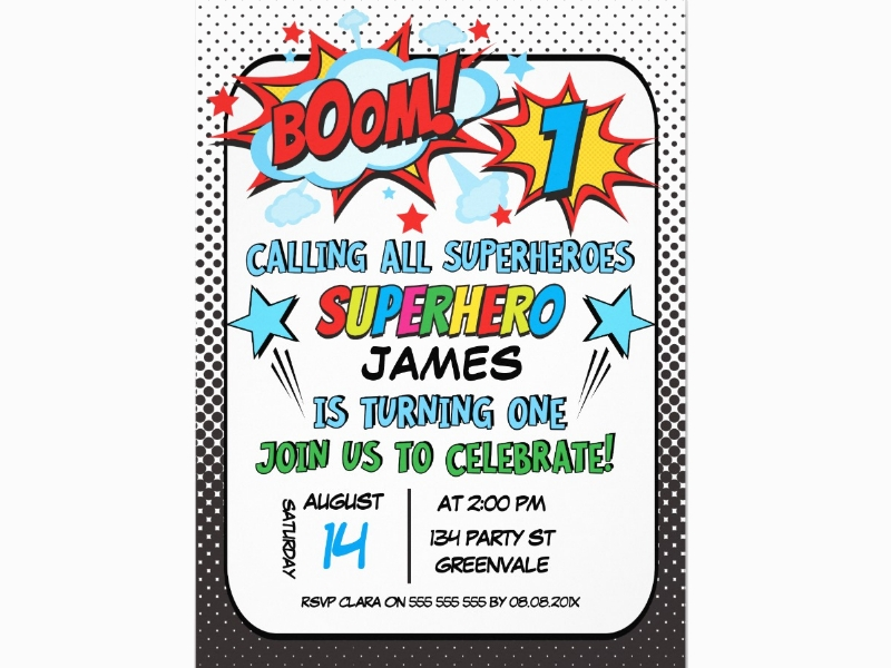 boys superhero 1st birthday invitation2
