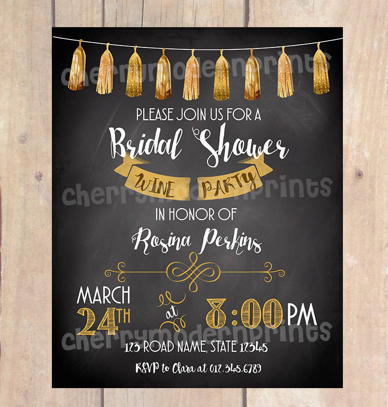 bridal shower chalkboard invitation