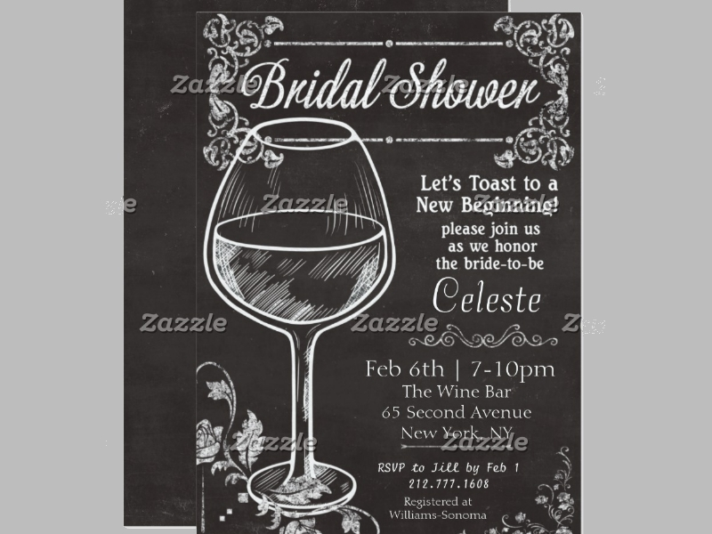 bridal shower chalkboard wine invitation1