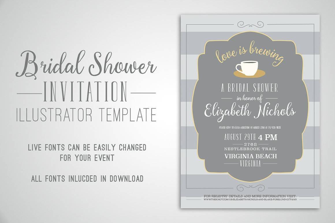 bridal shower invitation illustrator template