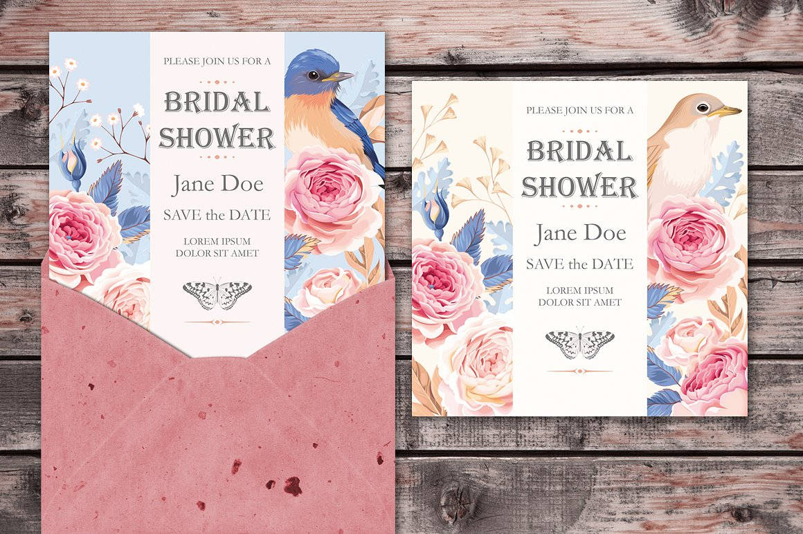 bridal shower invitation in psd