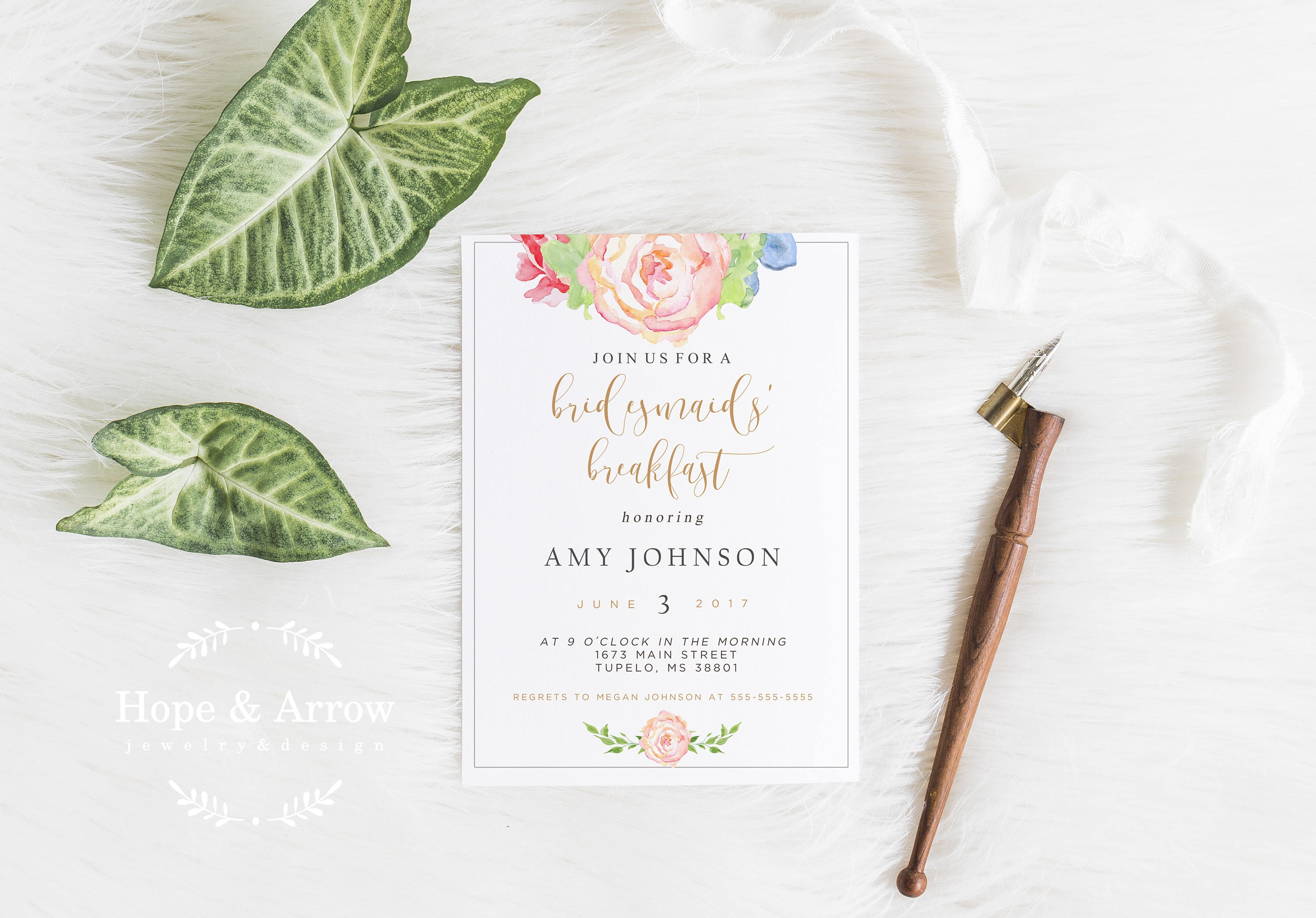 bridesmaid breakfast invitation
