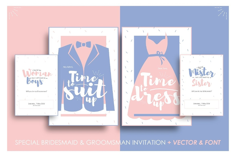 bridesmaid groomsman invitation