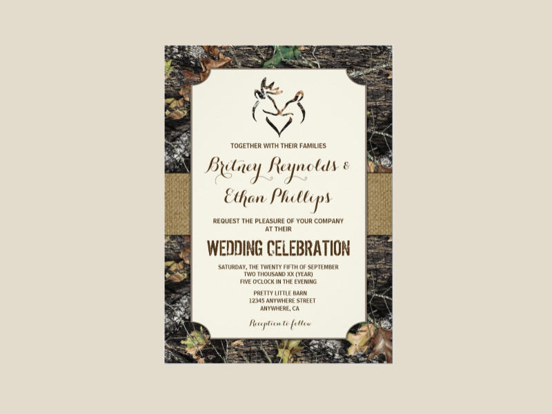 burlap camo wedding invitation