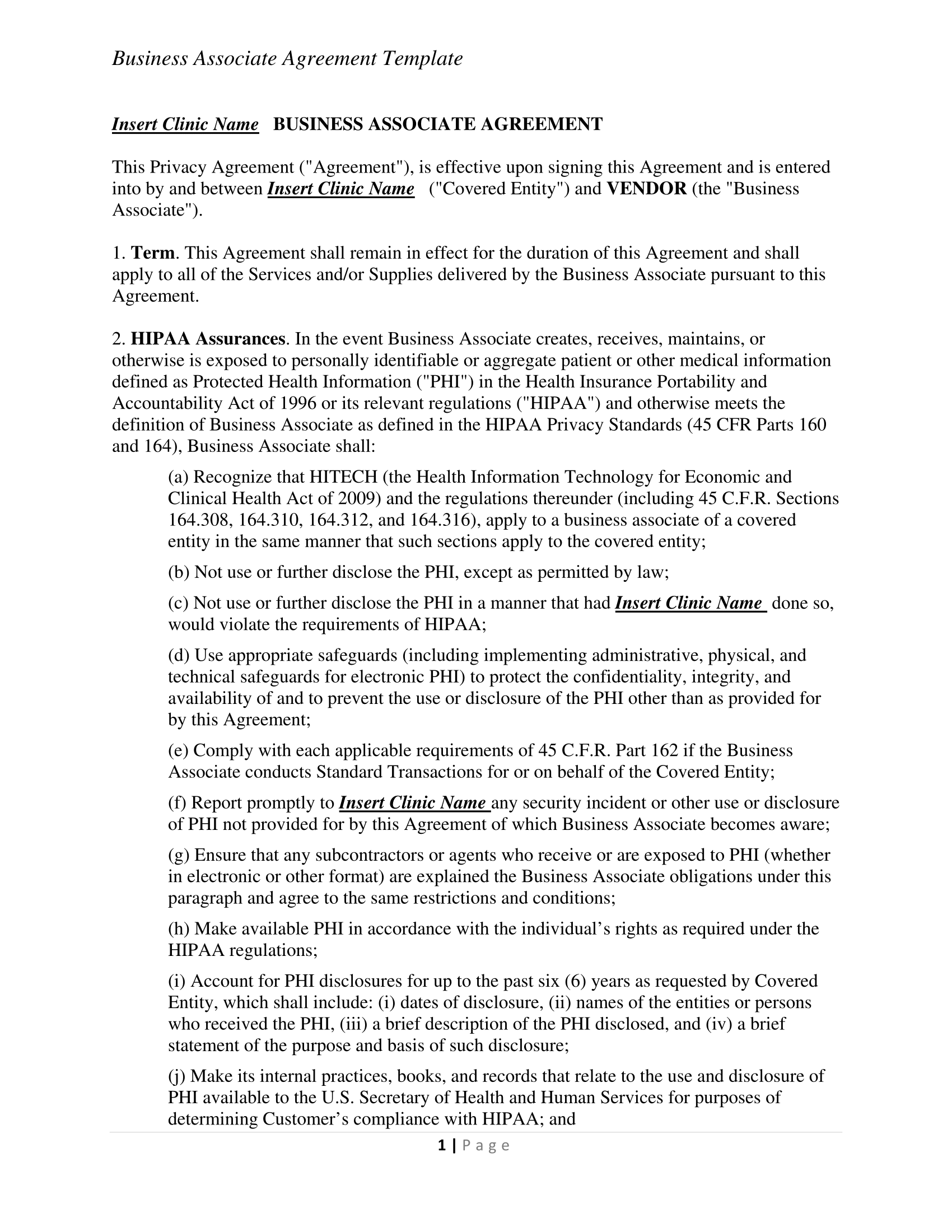 business associate agreement contract pdf download 1