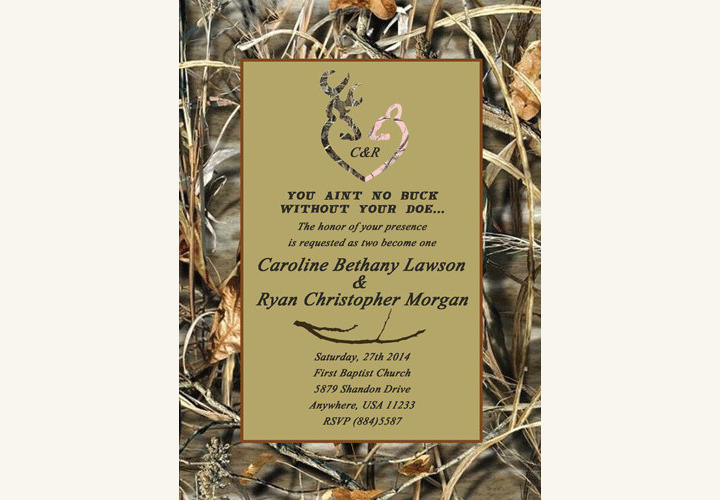 camo deer wedding invitation