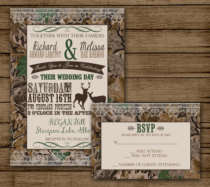 camo rsvp wedding invitation