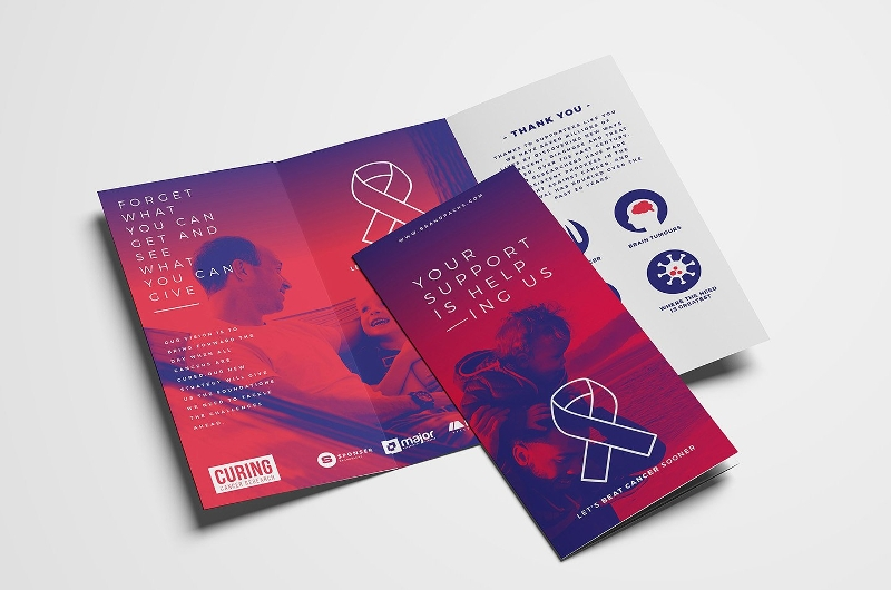 cancer charity tri fold brochure