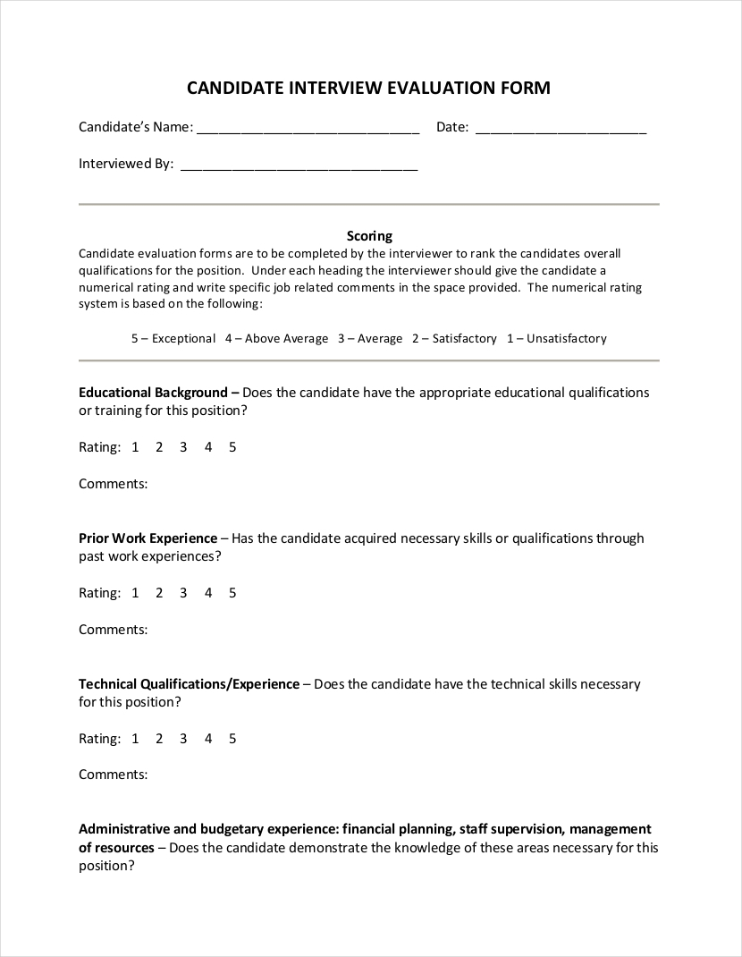 free 9  interview evaluation form examples in pdf
