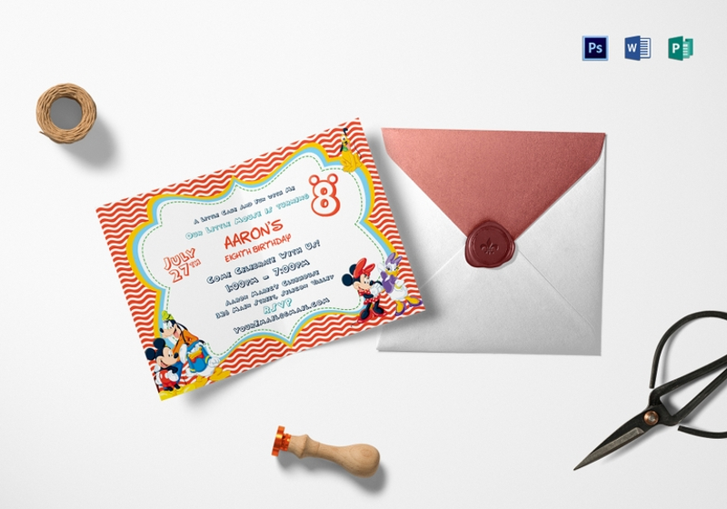 carnival birthday invitation in psd