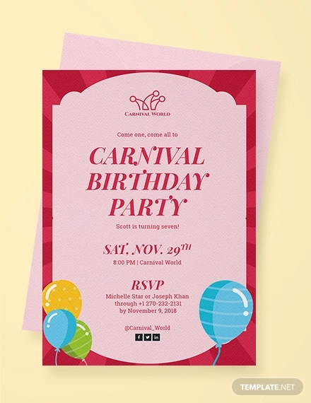 14 Carnival Birthday Invitation Designs And Examples PSD AI