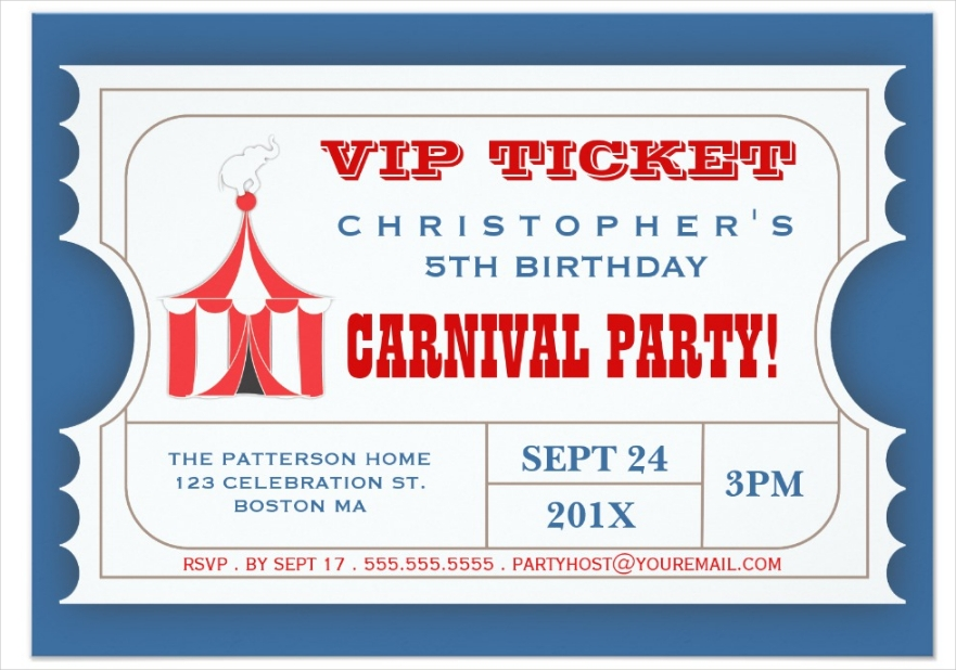carnival party ticket admission invitation