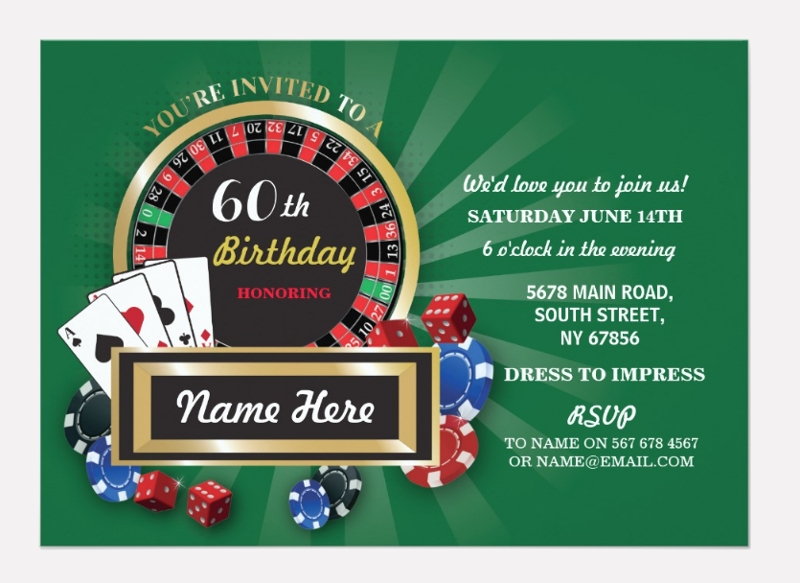 casino 60th birthday party invitation