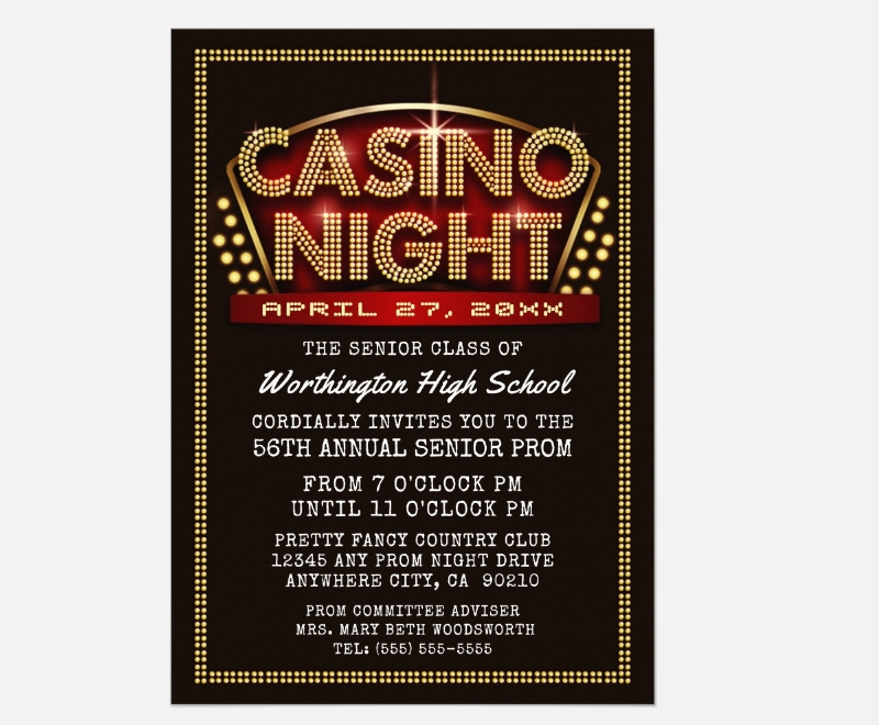 casino night party themed prom invitation