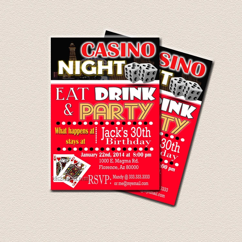 casino surprise party invitation