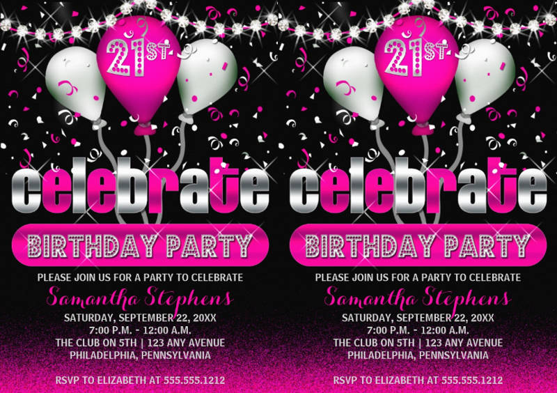 celebrate 21st birthday party invitation