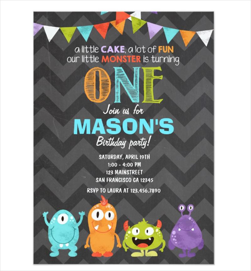 chalk little monster birthday party invitation