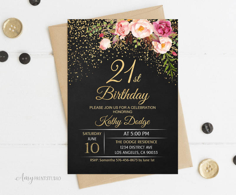 chalkboard 21st birthday invitation