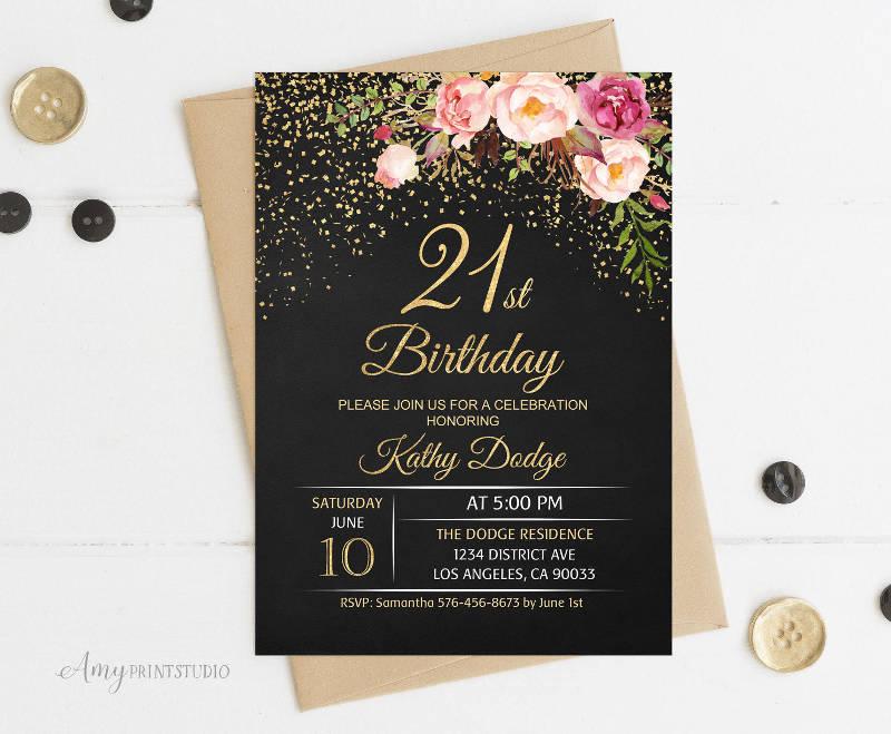 Chalkboard 21st Birthday Invitation