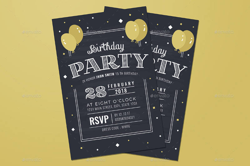 chalkboard adult birthday invitation