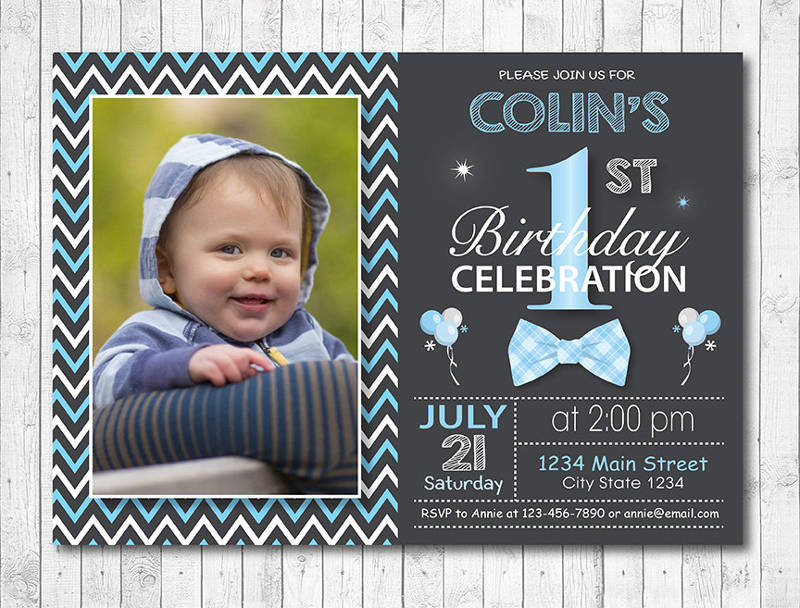 Chalkboard Baby Boy First Birthday Invitation