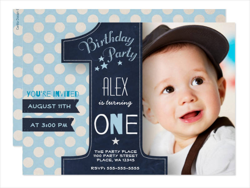 chalkboard baby first birthday party invitation