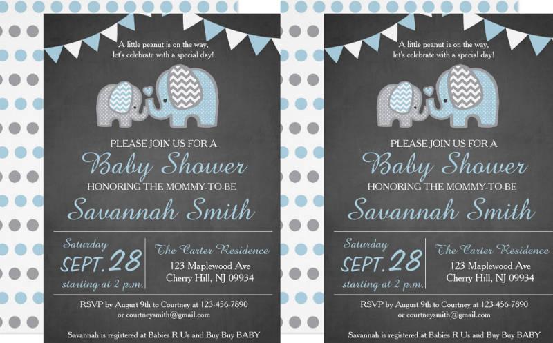 chalkboard baby shower invitation card