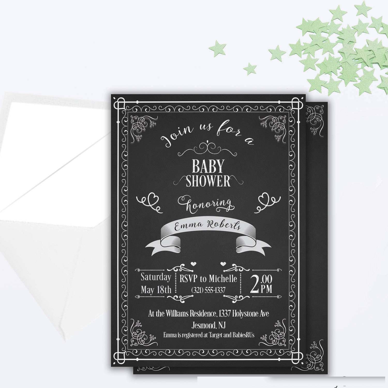 chalkboard baby shower invitation design
